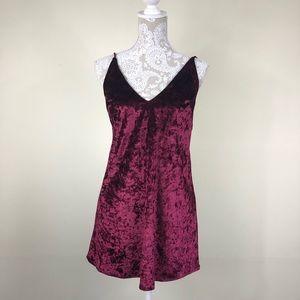 Naked wardrobe burgundy velvet slip dress